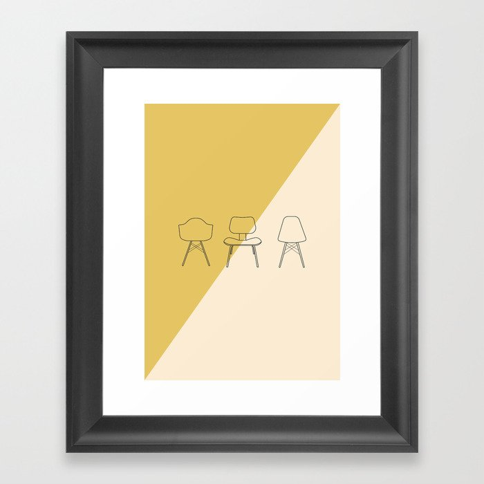 Remarkable Eames Chairs Mid Century Modern Minimalist Illustration Framed Art Print Gamerscity Chair Design For Home Gamerscityorg