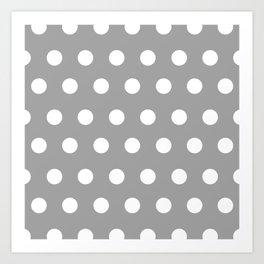 Polka Dots Gray Art Print