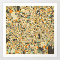 atlanta Art Prints featuring ATLANTA MAP by Jazzberry Blue