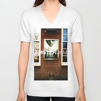 movie posters V-neck T-shirts featuring Amsterdam Posters by Cristhian Arias-Romero