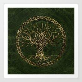 Tree of life -Yggdrasil -green and gold Art Print
