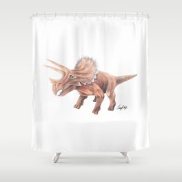 Orange Triceratops Shower Curtain