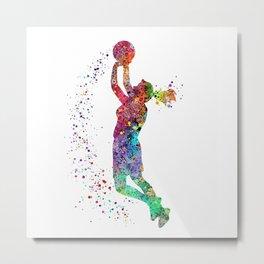 Basketball Girl Player Sports Art Print Metal Print