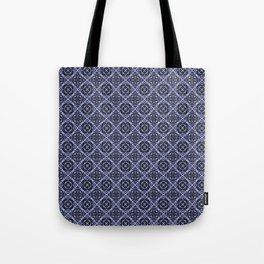 Orchid and Black Damask Pattern Tote Bag