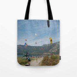 Kitesurfing at Akcapinar, Gokova Akyaka, Turkey Tote Bag