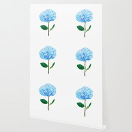 abstract blue hydrangea watercolor Wallpaper