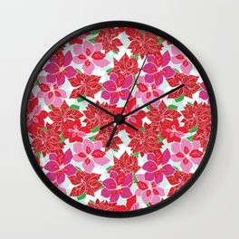 Red and Pink Poinsettias Wall Clock