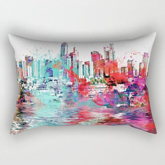Utopia mixed media city art Rectangular Pillow