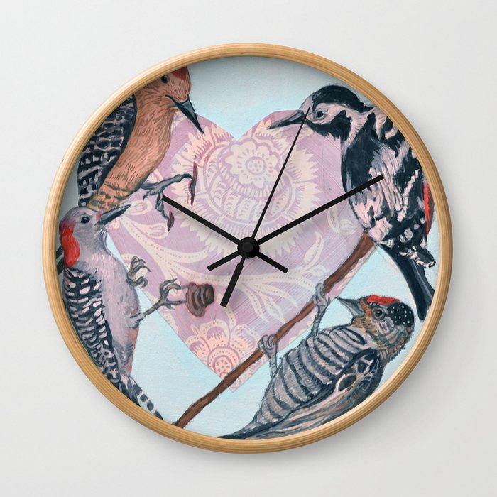 Woodpecker Heart Wall Clock