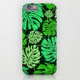 Tropical Jungle Leaf Pattern in Exotic Green Hues iPhone Case