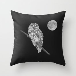 Owl, See the Moon (bw, sq) Throw Pillow