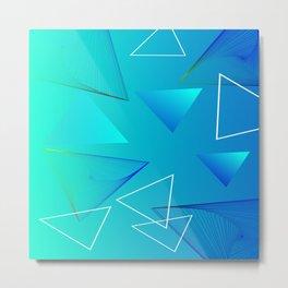 Aqua Triangle Abstract Art Design Metal Print
