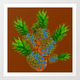 ABSTRACT COFFEE BROWN TROPICAL PINEAPPLES DESIGN Art Print