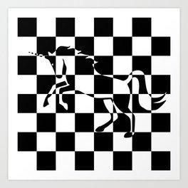 Chessboard Unicorn Art Print