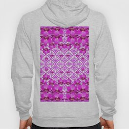 ABSTRACT PATTERNED PURPLE ART DECO  ORCHIDS Hoody