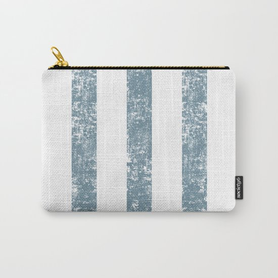 Maritime Navy Beach Pattern- Blue and White Stripes- Vertical - Carry-All Pouch