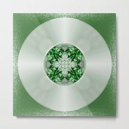 Vinyl Record Illusion in Green Metal Print