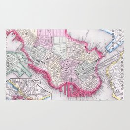 Vintage Map of Downtown Boston (1864) Rug