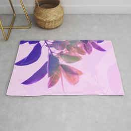 Elegant Tropical Rubber Foliage 1 - Pink and purple Rug