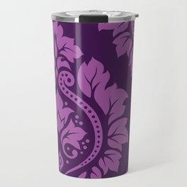 Decorative Damask Art I Light on Dark Plum Travel Mug