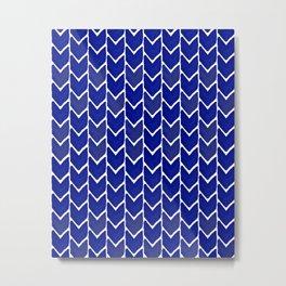 Chevron indigo blue painting watercolor abstract minimal modern brushstrokes painterly decor dorm Metal Print
