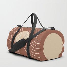 Mid Century Modern Geometric 17 (Terracotta and Beige) Duffle Bag