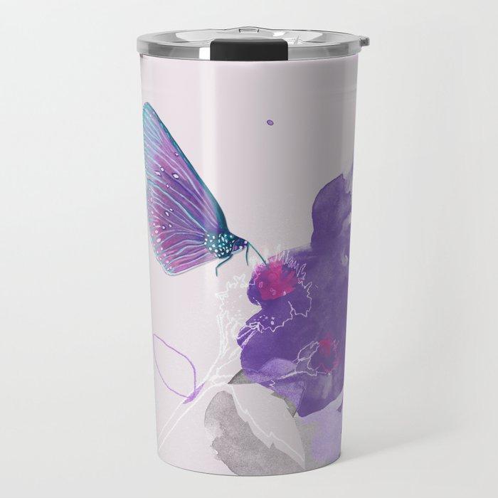 Purple butterfly & flower watercolor illustration painting Travel Mug
