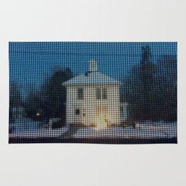 White house w/first snow & creche Rug