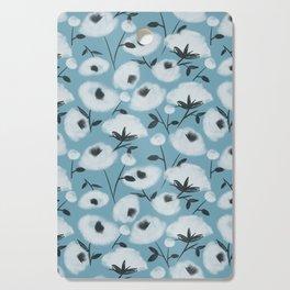 Cotton Flowers on Blue Pattern Cutting Board