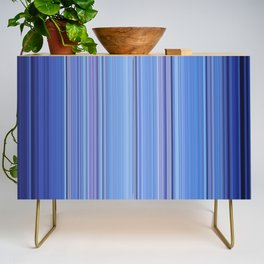 Abstract Vertical Cool Blue stripes Credenza