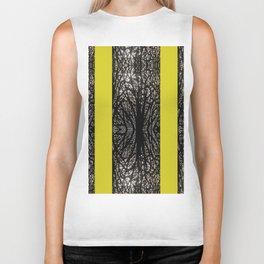 Gothic tree striped pattern mustard yellow Biker Tank