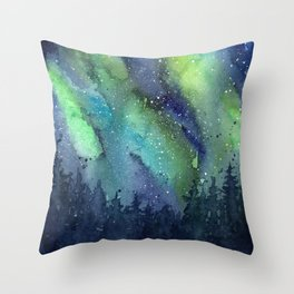 Galaxy Aurora Northern Lights Nebula Space Watercolor Throw Pillow