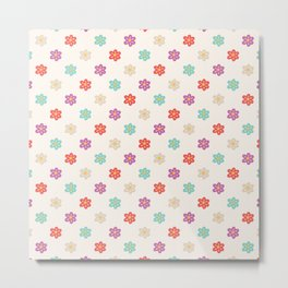 Abstract ivory teal orange violet cute floral Metal Print