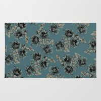 vintage floral Area & Throw Rugs featuring Vintage floral by lil3birdy