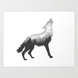 Double Exposure Wild Bear Stipple Art Animal Wildlife Wilderness Art Print