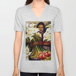 1938 Classical Masterpiece 'Alcatraces Flower Seller' by Diego Rivera Unisex V-Neck
