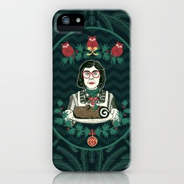 Yule Log Lady (in Green) iPhone Case