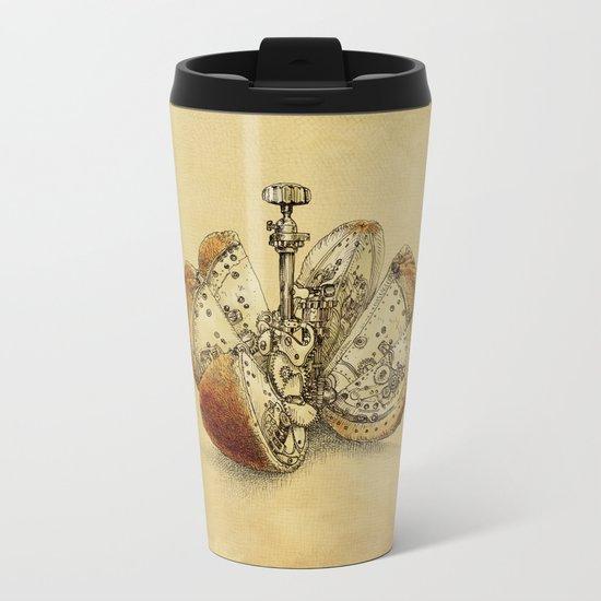 Steampunk Orange (sepia) Metal Travel Mug