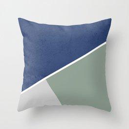 Navy Sage Gray Geometric Throw Pillow