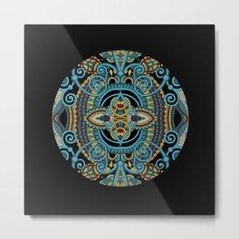 turquoise mandala on black background Metal Print