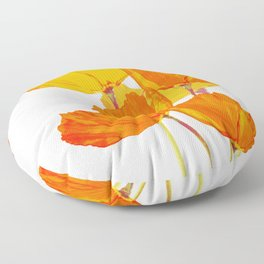 Orange and Yellow Poppies On A White Background #decor #society6 #buyart Floor Pillow