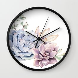 Pristine Succulents Blue and Pink Wall Clock