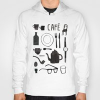 cafe Hoodies featuring Cafe by The Printed Peanut