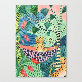 Jungle Leopard Family Canvas Print