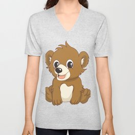 Cute Cartoon Bear Animal T Shirt Unisex V-Neck