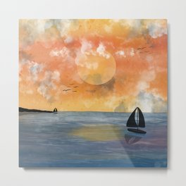 Sunrise above ocean with sailing boats Metal Print
