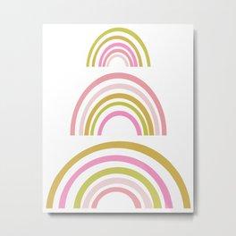 Pink and Green Rainbows Metal Print