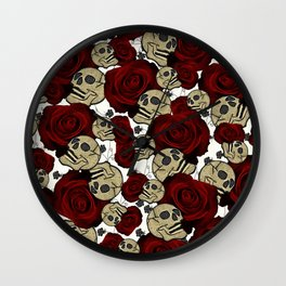 Red Roses & Skulls Black Floral Gothic White Wall Clock