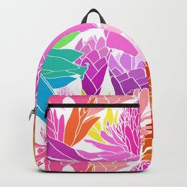 Ginger Flowers in Tropical Rainbow + White Backpack