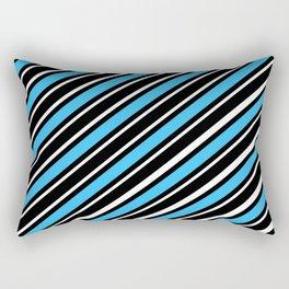Light blue back white diagonal stripe Rectangular Pillow